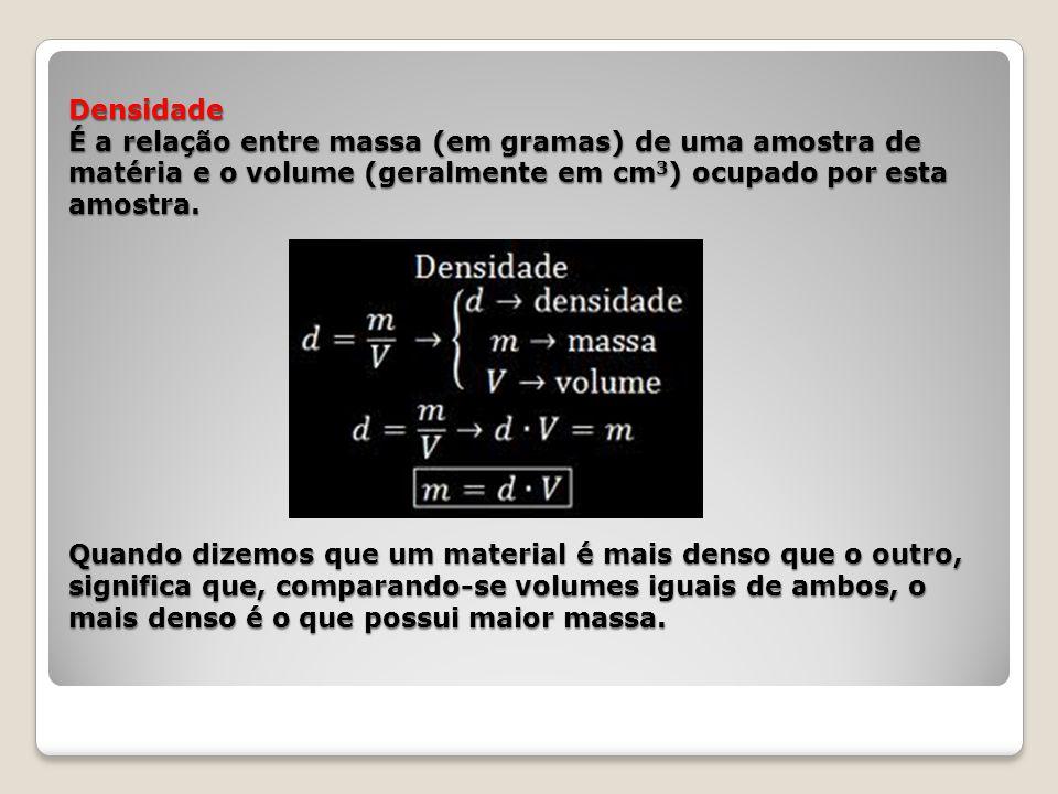 Densidade É a relação entre massa (em gramas) de uma amostra de matéria e o volume (geralmente em cm3) ocupado por esta amostra.