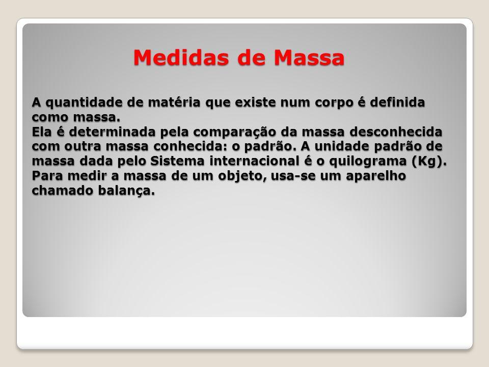 Medidas de Massa A quantidade de matéria que existe num corpo é definida como massa.