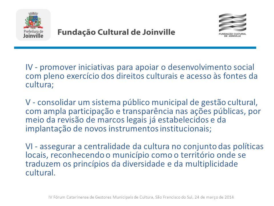 IV - promover iniciativas para apoiar o desenvolvimento social com pleno exercício dos direitos culturais e acesso às fontes da cultura;