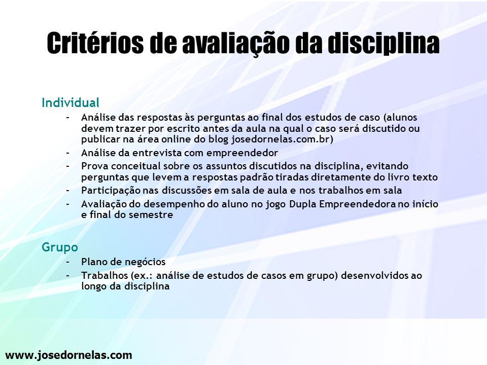 Critérios de avaliação da disciplina
