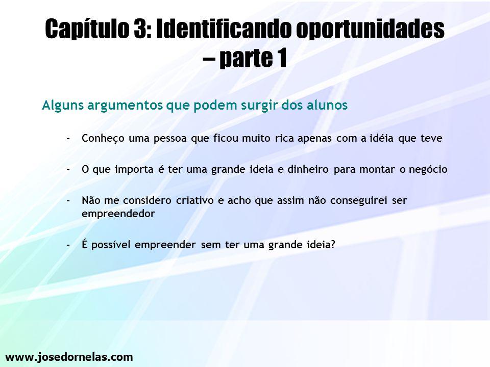 Capítulo 3: Identificando oportunidades – parte 1