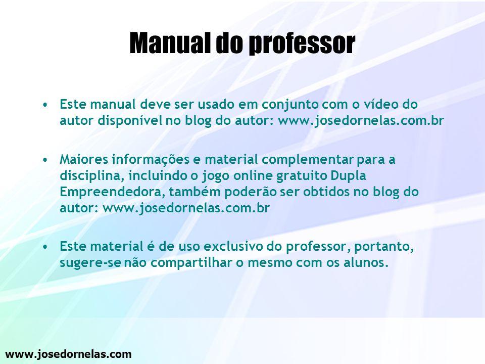Manual do professor Este manual deve ser usado em conjunto com o vídeo do autor disponível no blog do autor: www.josedornelas.com.br.