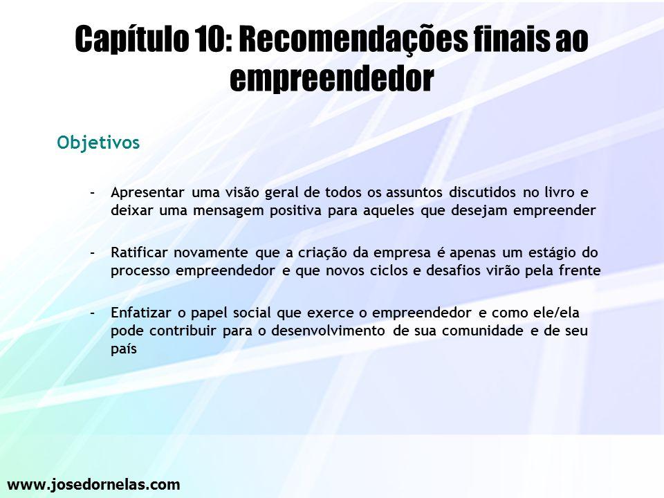 Capítulo 10: Recomendações finais ao empreendedor