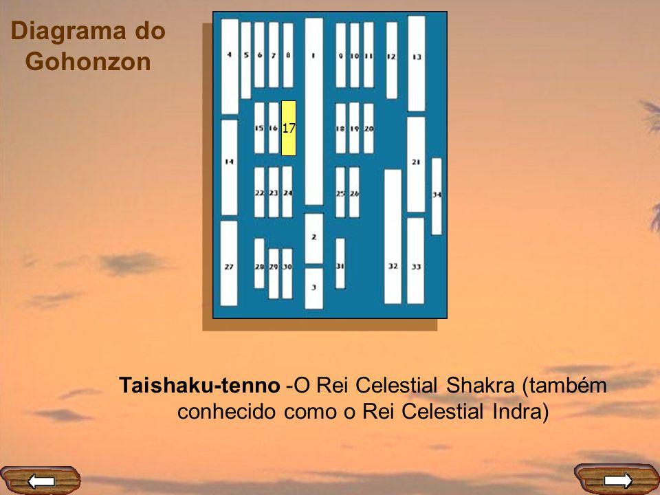 17 Taishaku-tenno -O Rei Celestial Shakra (também conhecido como o Rei Celestial Indra)