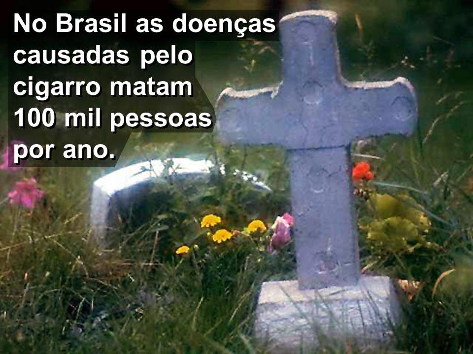 No Brasil as doenças causadas pelo cigarro matam 100 mil pessoas por ano.