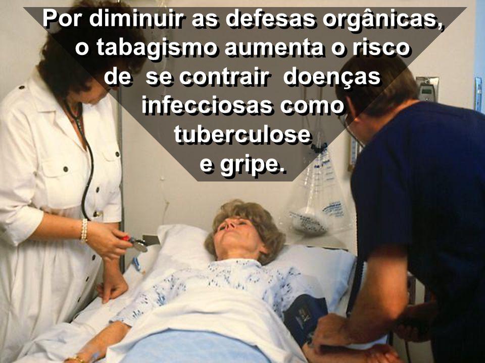 Por diminuir as defesas orgânicas, o tabagismo aumenta o risco de se contrair doenças infecciosas como tuberculose e gripe.