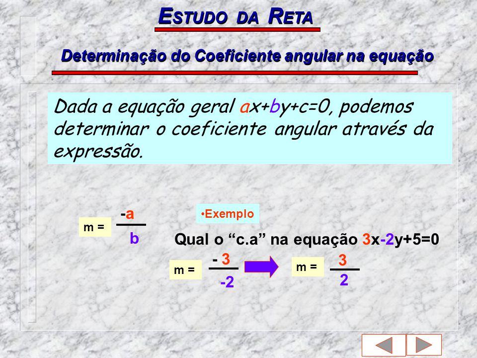 Qual o c.a na equação 3x-2y+5=0