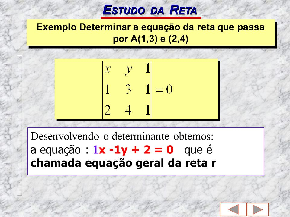 Exemplo Determinar a equação da reta que passa por A(1,3) e (2,4)