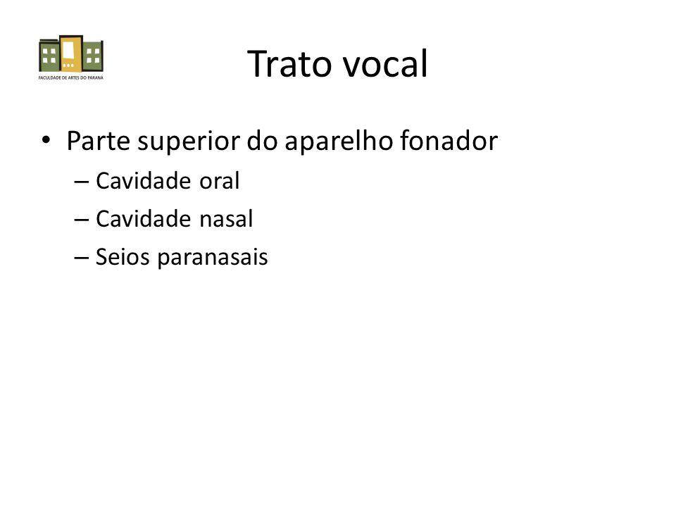 Trato vocal Parte superior do aparelho fonador Cavidade oral