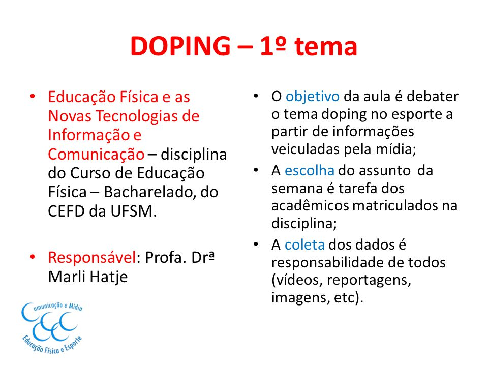 DOPING – 1º tema
