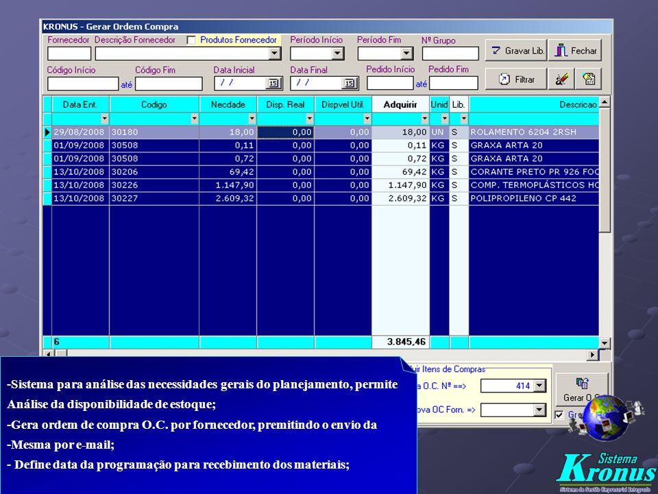 Sistema para análise das necessidades gerais do planejamento, permite