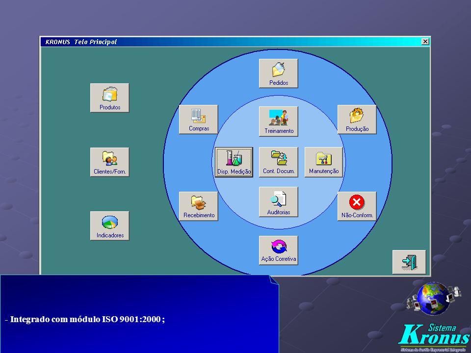 - Integrado com módulo ISO 9001:2000 ;