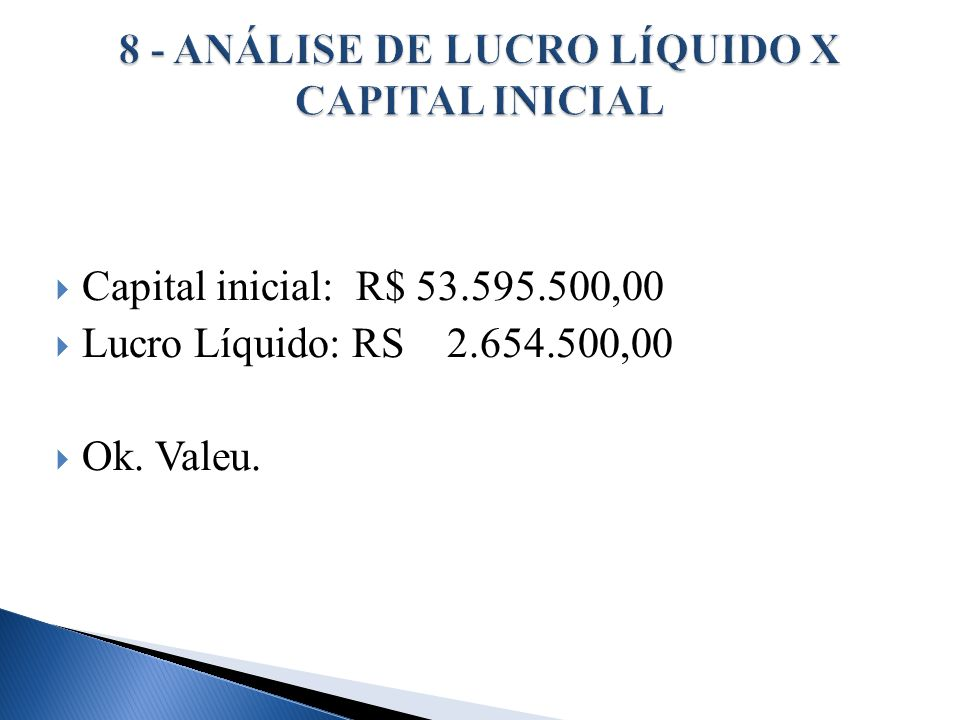 8 - ANÁLISE DE LUCRO LÍQUIDO X CAPITAL INICIAL