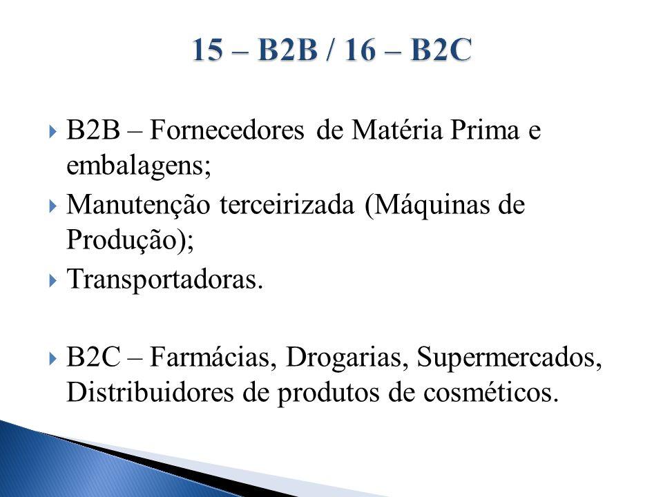 15 – B2B / 16 – B2C B2B – Fornecedores de Matéria Prima e embalagens;
