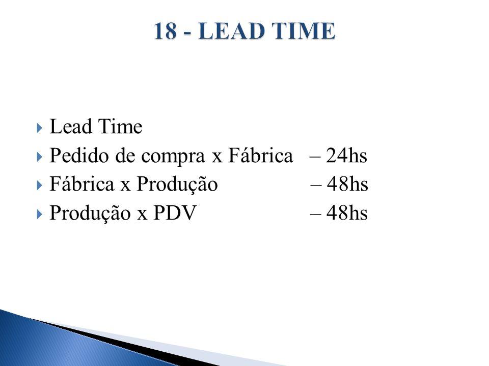 18 - LEAD TIME Lead Time Pedido de compra x Fábrica – 24hs