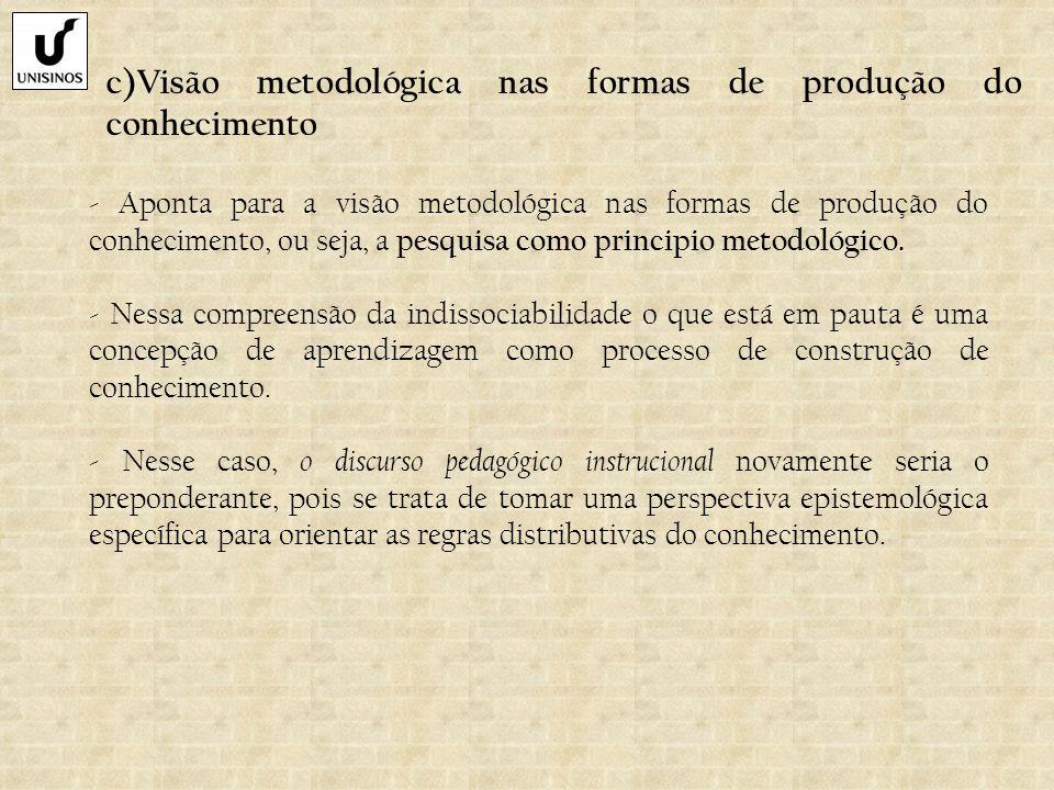 c)Visão metodológica nas formas de produção do conhecimento