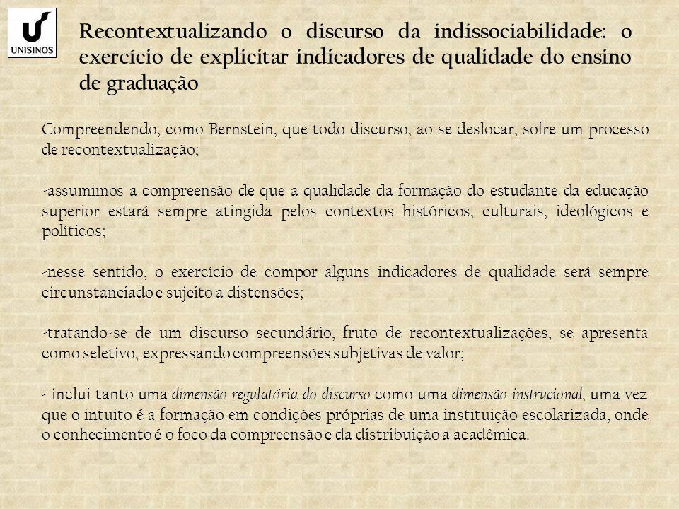 Recontextualizando o discurso da indissociabilidade: o exercício de explicitar indicadores de qualidade do ensino de graduação