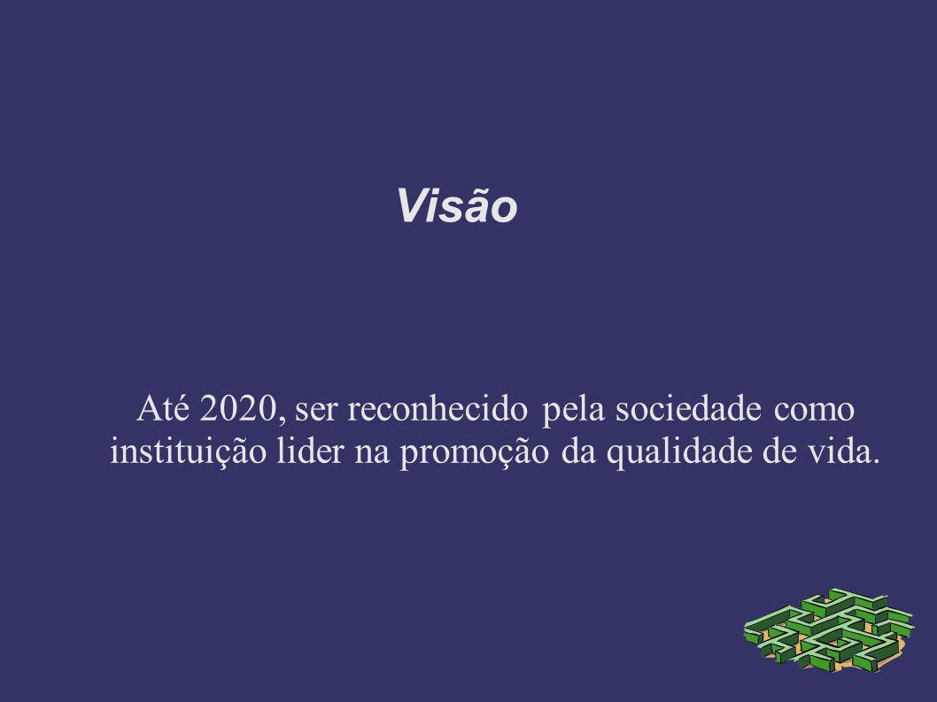Visão Até 2020, ser reconhecido pela sociedade como instituição lider na promoção da qualidade de vida.