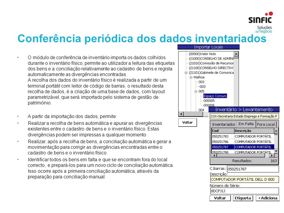 Conferência periódica dos dados inventariados