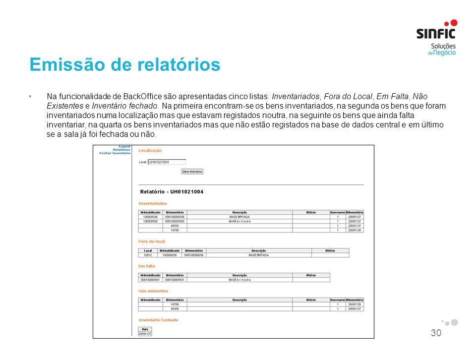 Emissão de relatórios