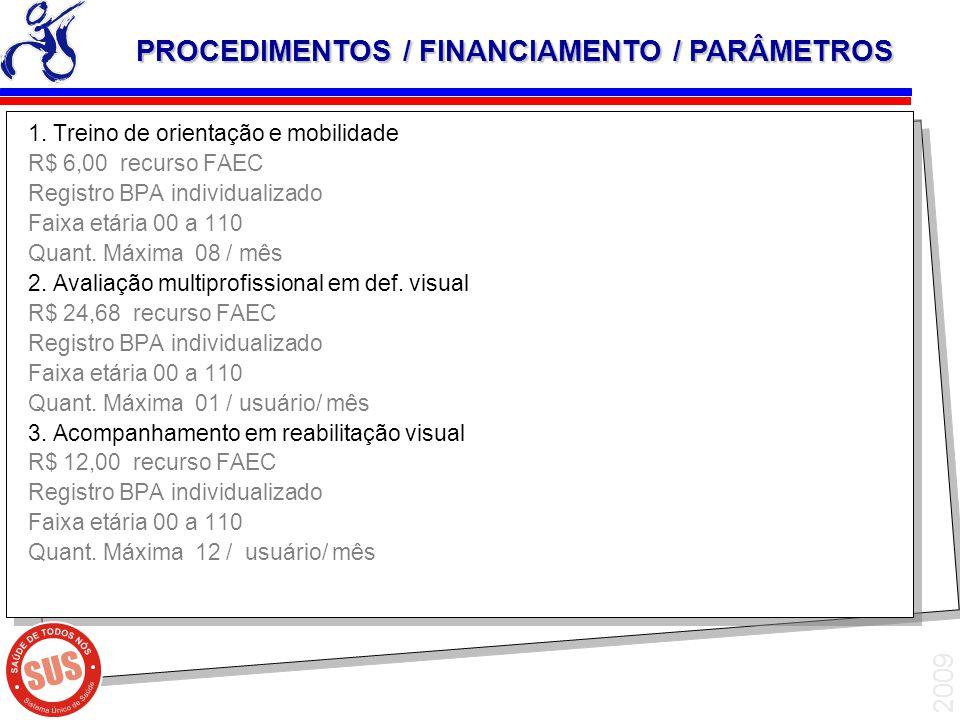PROCEDIMENTOS / FINANCIAMENTO / PARÂMETROS