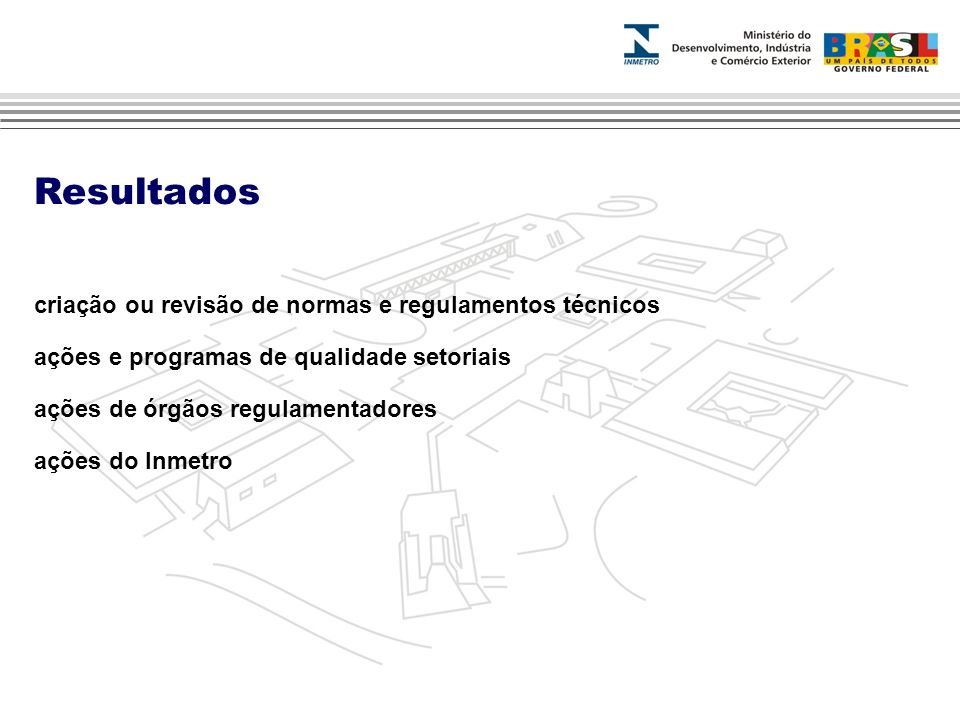 Resultados criação ou revisão de normas e regulamentos técnicos