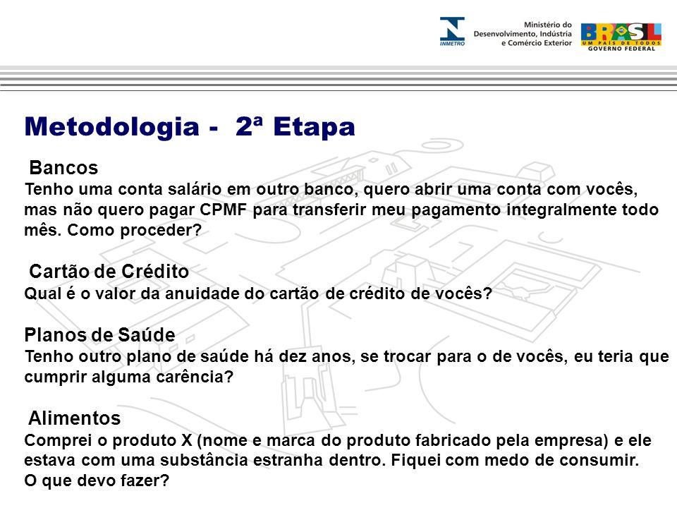 Metodologia - 2ª Etapa Bancos Cartão de Crédito Planos de Saúde