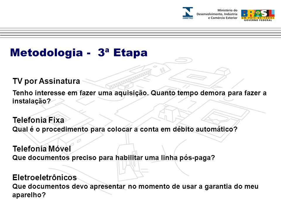 Metodologia - 3ª Etapa TV por Assinatura Telefonia Fixa
