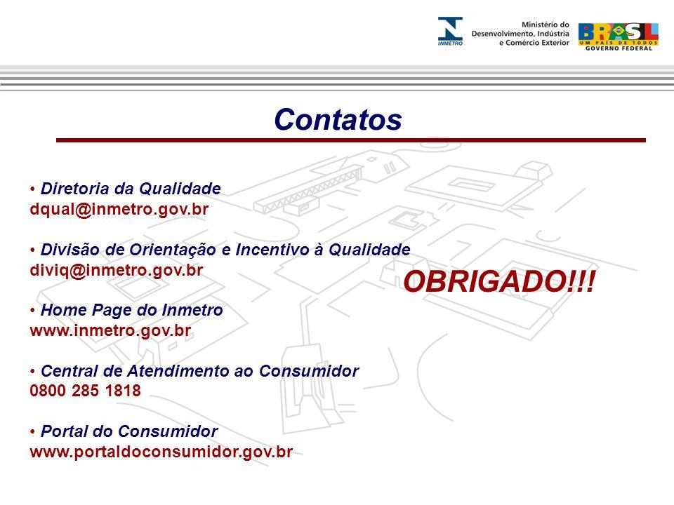 Contatos OBRIGADO!!! Diretoria da Qualidade dqual@inmetro.gov.br