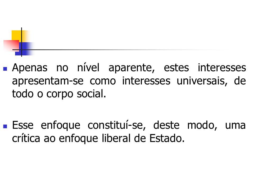 Apenas no nível aparente, estes interesses apresentam-se como interesses universais, de todo o corpo social.