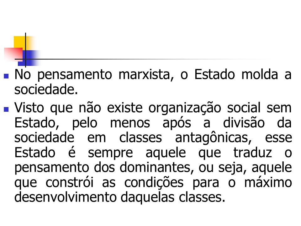 No pensamento marxista, o Estado molda a sociedade.