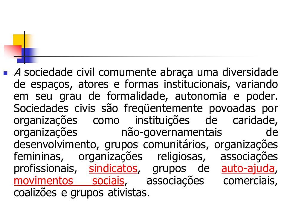 A sociedade civil comumente abraça uma diversidade de espaços, atores e formas institucionais, variando em seu grau de formalidade, autonomia e poder.