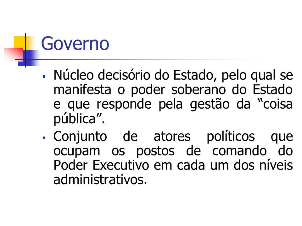 Governo Núcleo decisório do Estado, pelo qual se manifesta o poder soberano do Estado e que responde pela gestão da coisa pública .