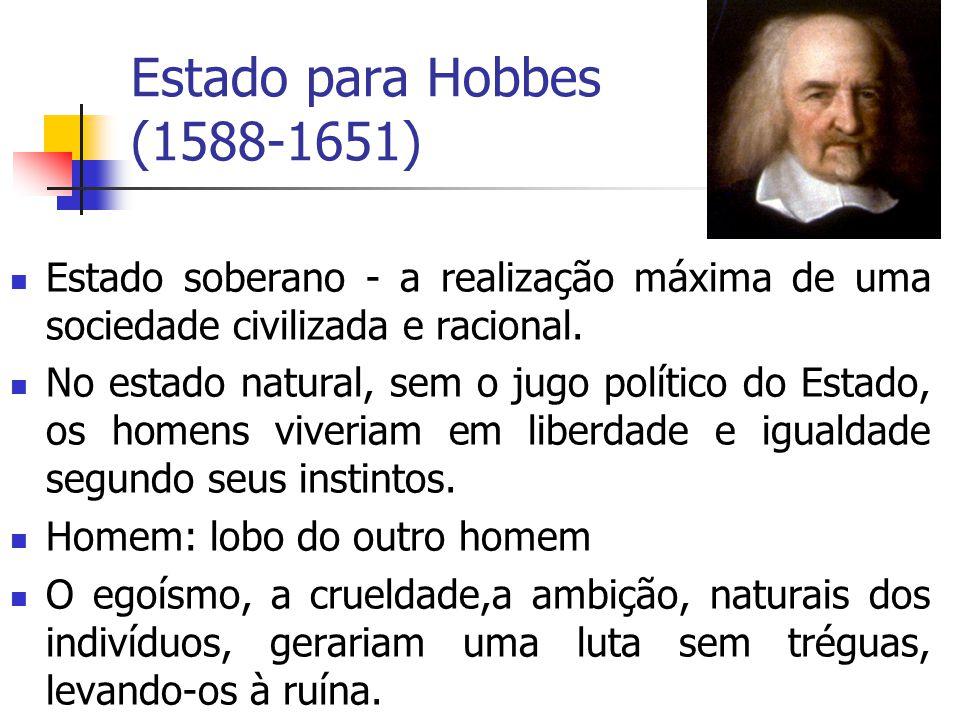Estado para Hobbes (1588-1651) Estado soberano - a realização máxima de uma sociedade civilizada e racional.