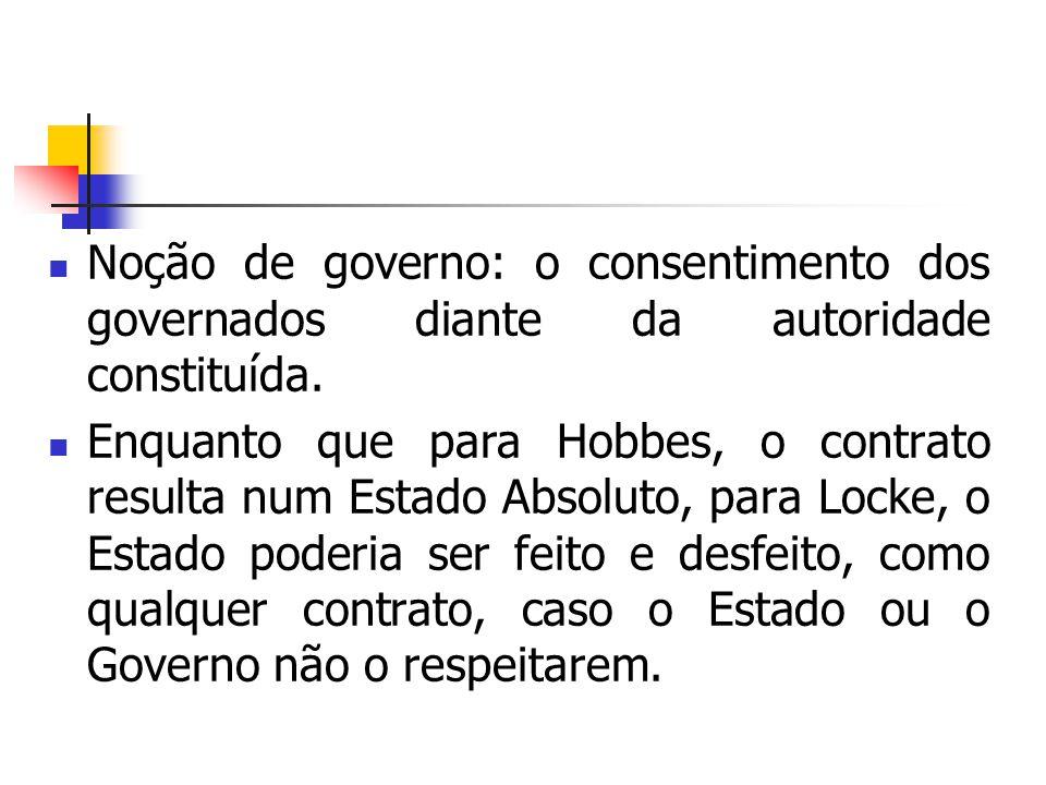 Noção de governo: o consentimento dos governados diante da autoridade constituída.
