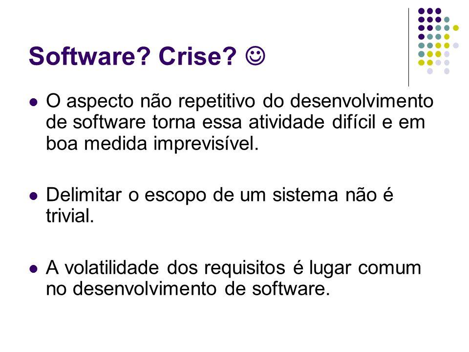 Software Crise  O aspecto não repetitivo do desenvolvimento de software torna essa atividade difícil e em boa medida imprevisível.