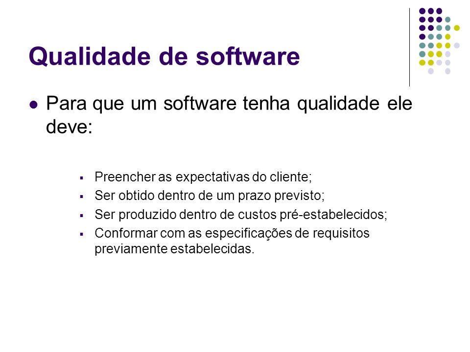 Qualidade de software Para que um software tenha qualidade ele deve: