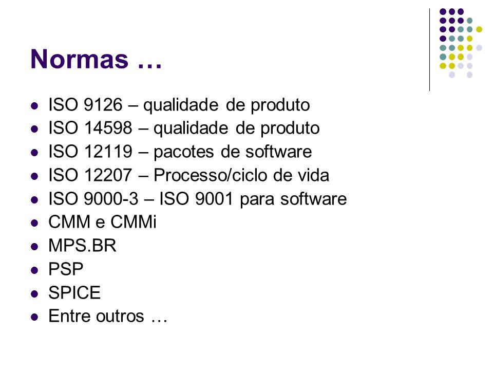 Normas … ISO 9126 – qualidade de produto