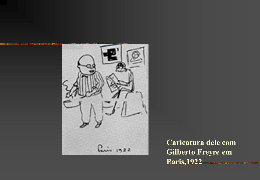 Caricatura dele com Gilberto Freyre em Paris,1922