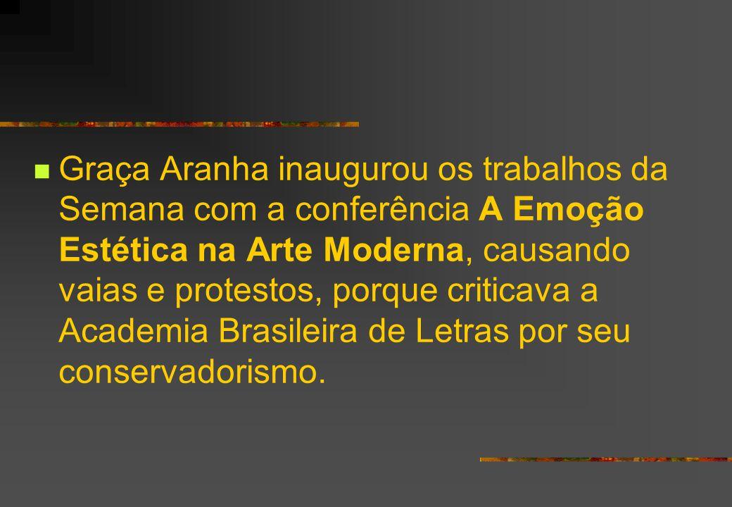 Graça Aranha inaugurou os trabalhos da Semana com a conferência A Emoção Estética na Arte Moderna, causando vaias e protestos, porque criticava a Academia Brasileira de Letras por seu conservadorismo.