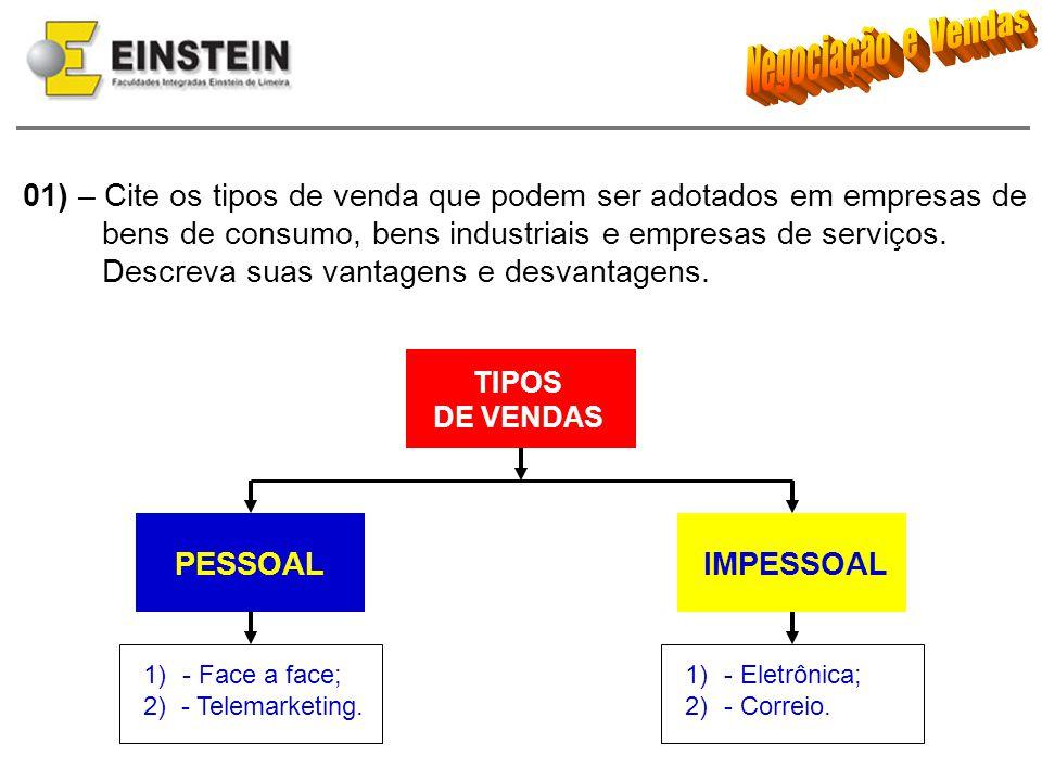 01) – Cite os tipos de venda que podem ser adotados em empresas de