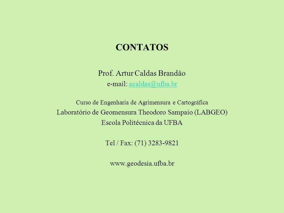 CONTATOS Prof. Artur Caldas Brandão e-mail: acaldas@ufba.br