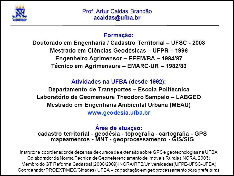 Prof. Artur Caldas Brandão acaldas@ufba.br