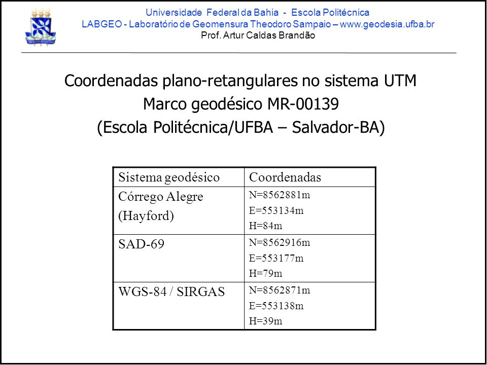 Coordenadas plano-retangulares no sistema UTM Marco geodésico MR-00139