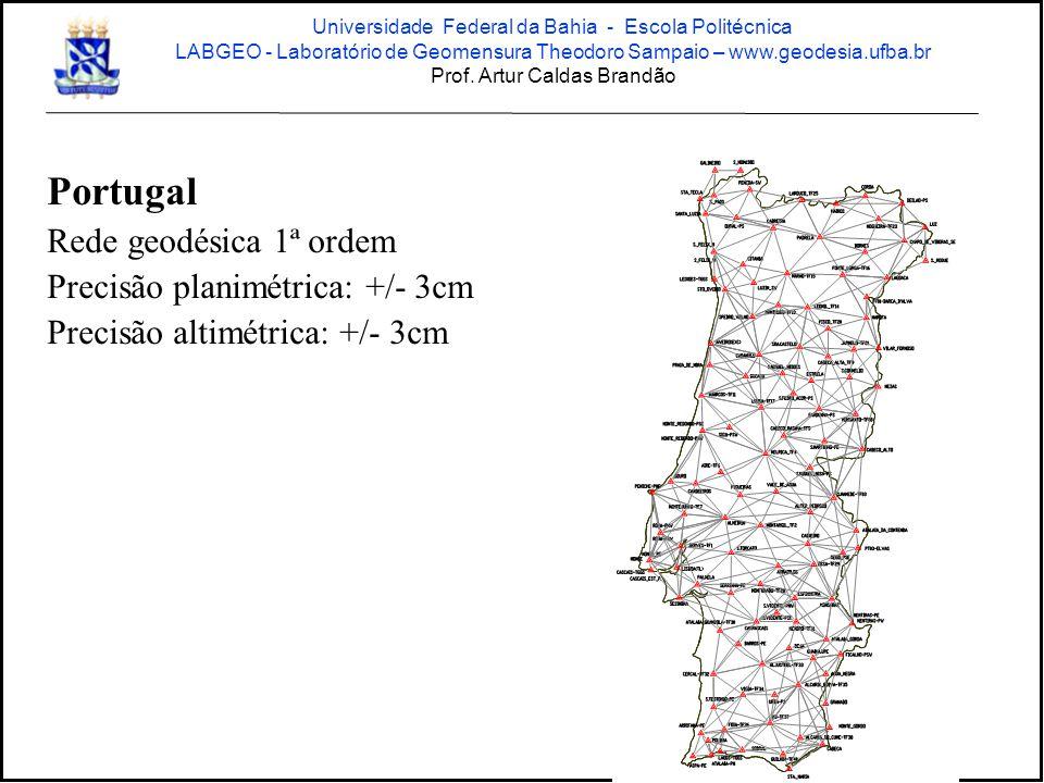 Portugal Rede geodésica 1ª ordem Precisão planimétrica: +/- 3cm