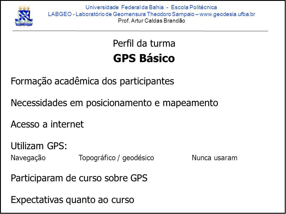 GPS Básico Perfil da turma Formação acadêmica dos participantes
