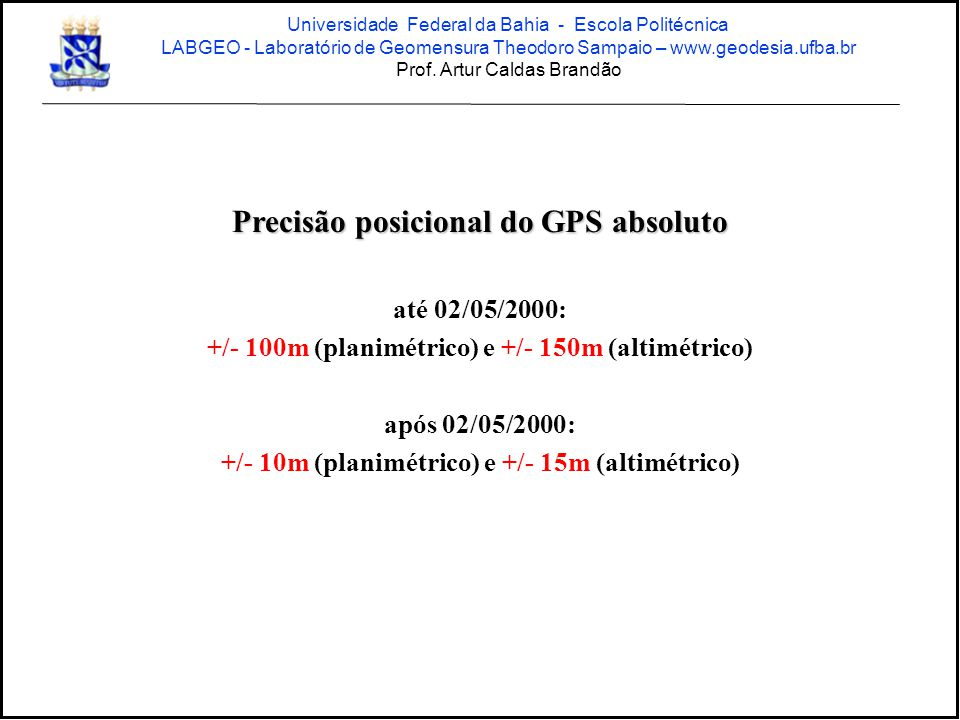 Precisão posicional do GPS absoluto