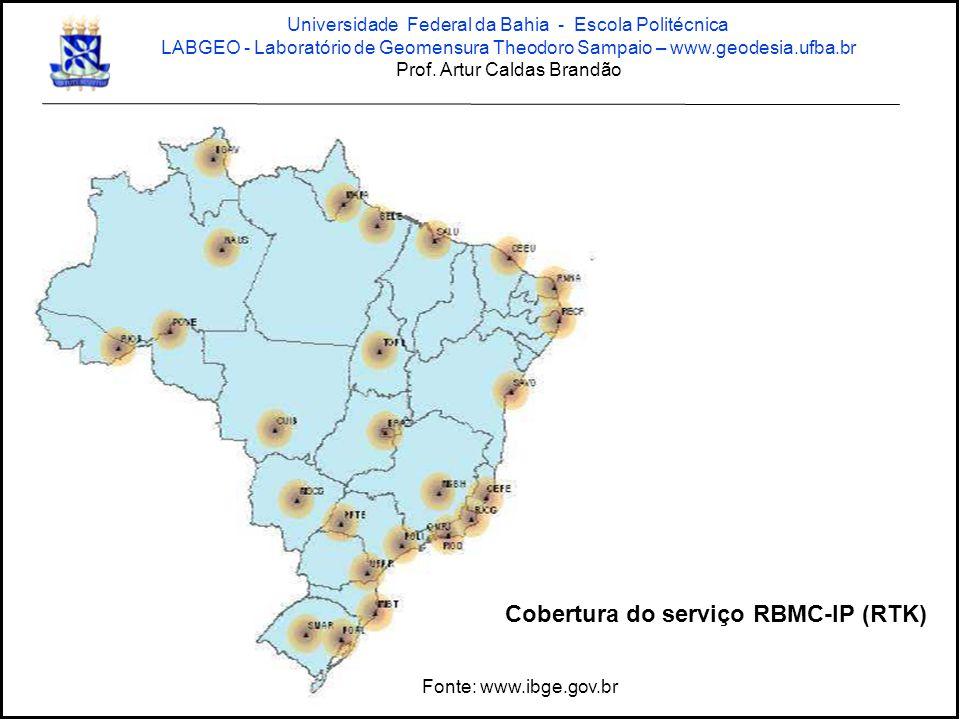 Cobertura do serviço RBMC-IP (RTK)