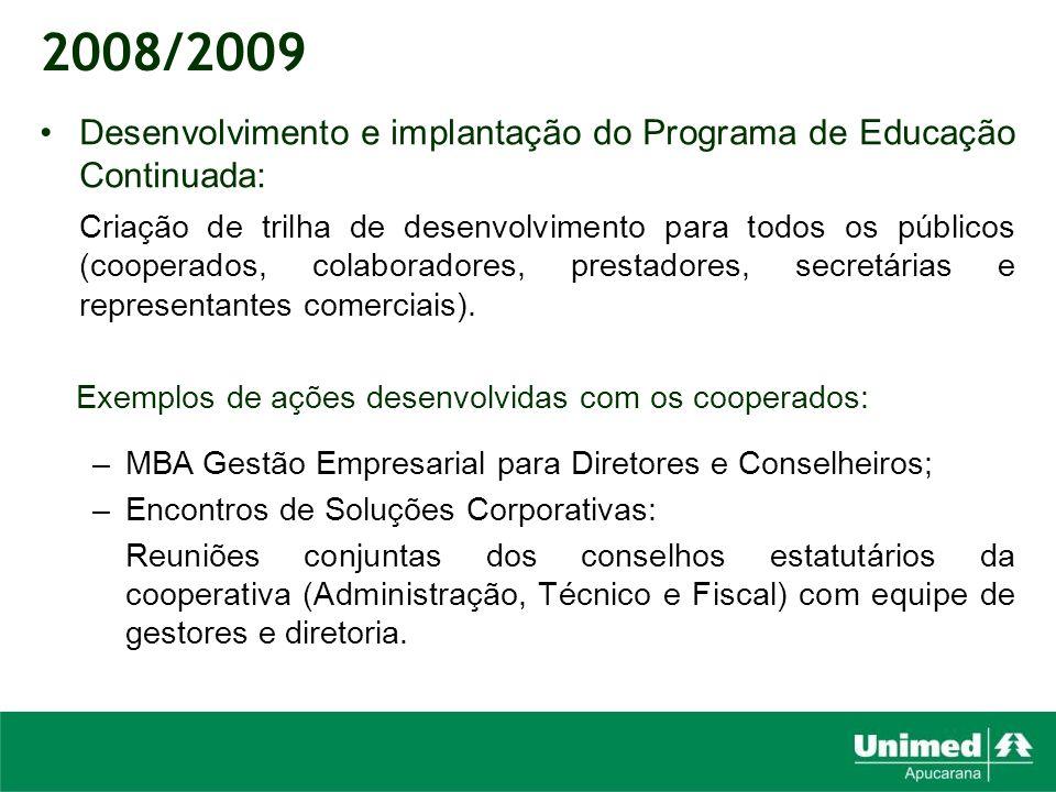 2008/2009 Desenvolvimento e implantação do Programa de Educação Continuada: