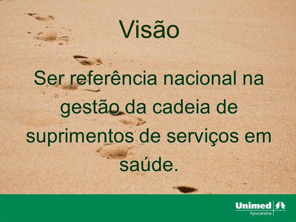 Visão Ser referência nacional na gestão da cadeia de suprimentos de serviços em saúde.